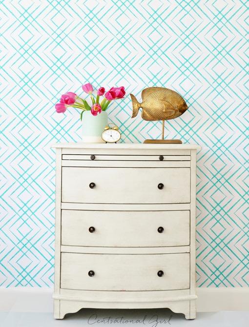 tulips on white dresser fret wallpaper