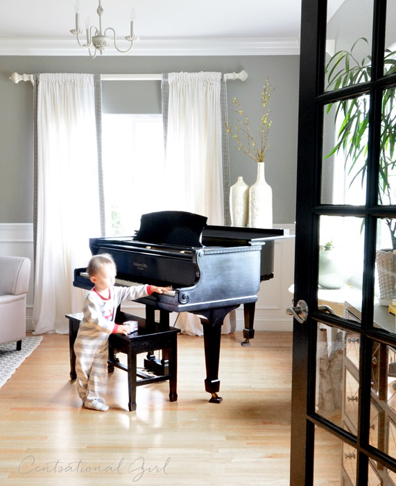 black baby grand piano living room