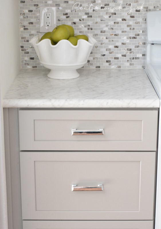 gray cabinet drawers polished chrome pulls