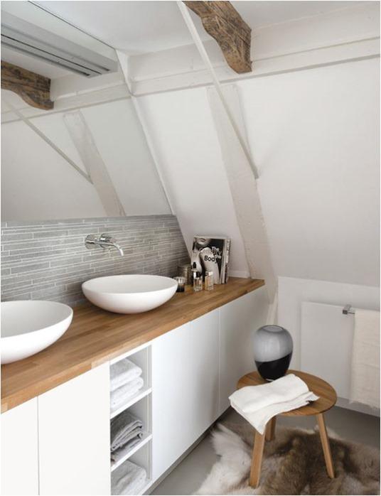 Wood Countertop White Bathroom Vanity