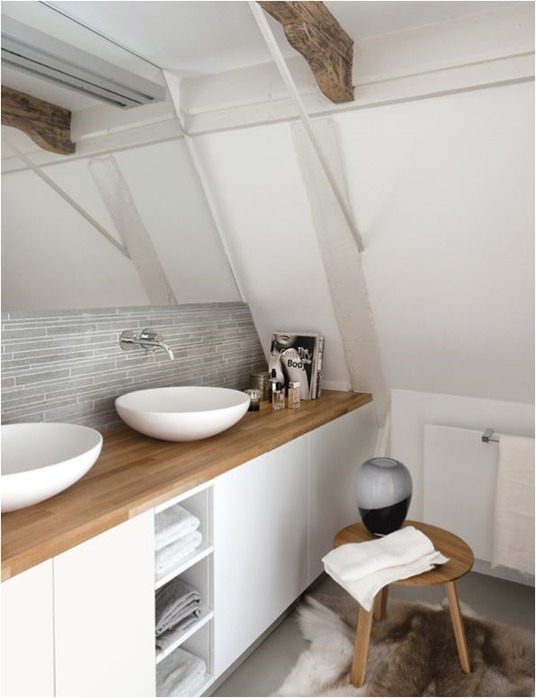 Exceptionnel Wood Countertop White Bathroom Vanity