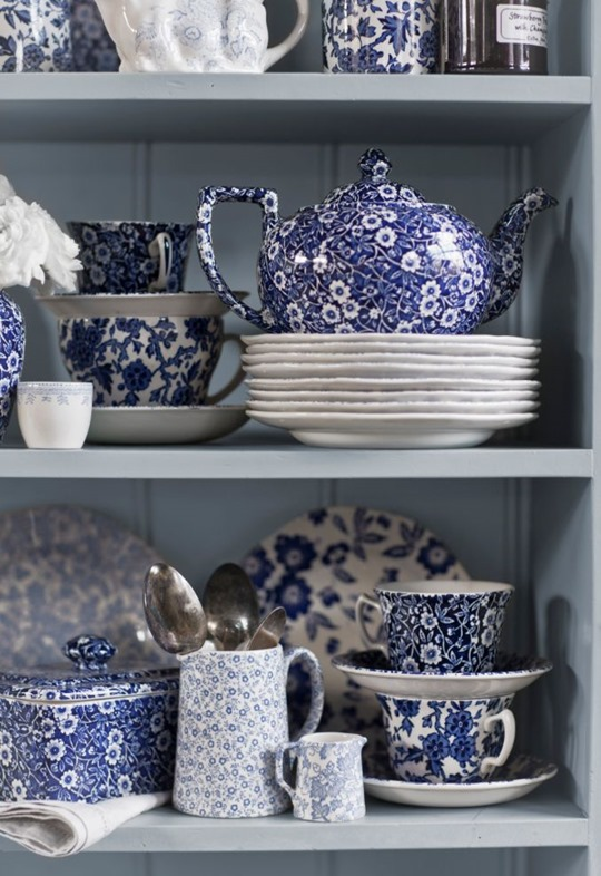 blue burleigh china collection