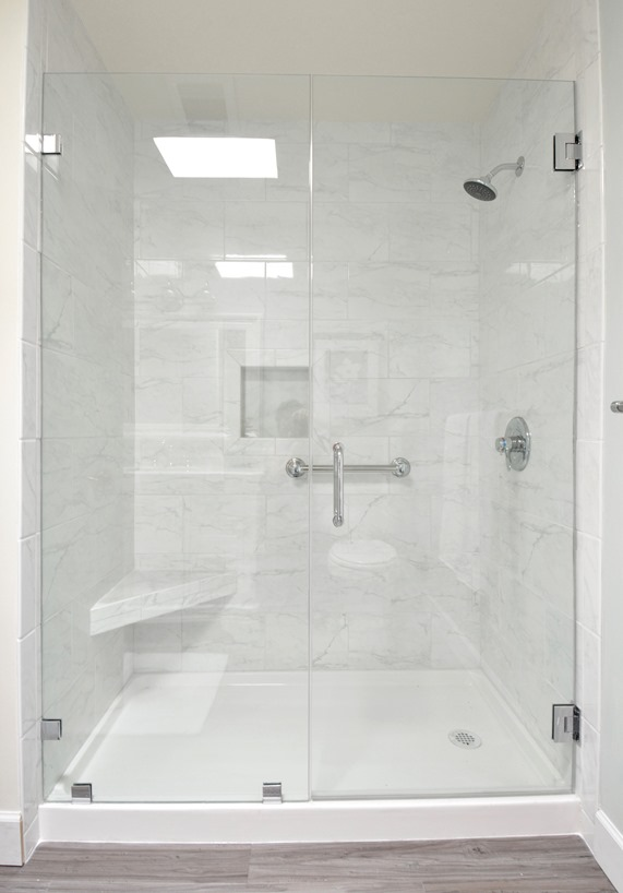 walk in shower marble tile