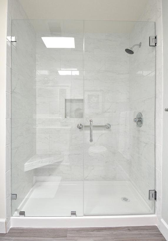 Stunning walk in shower marble tile