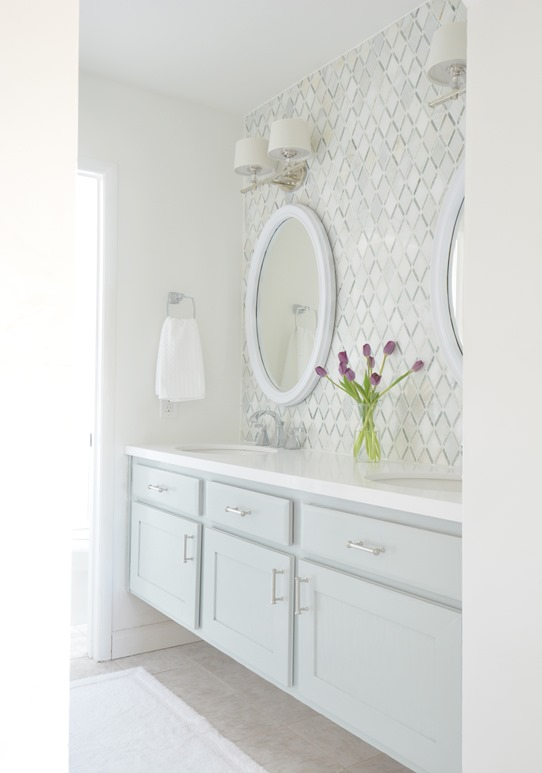 Elegant master bath vanity entrance