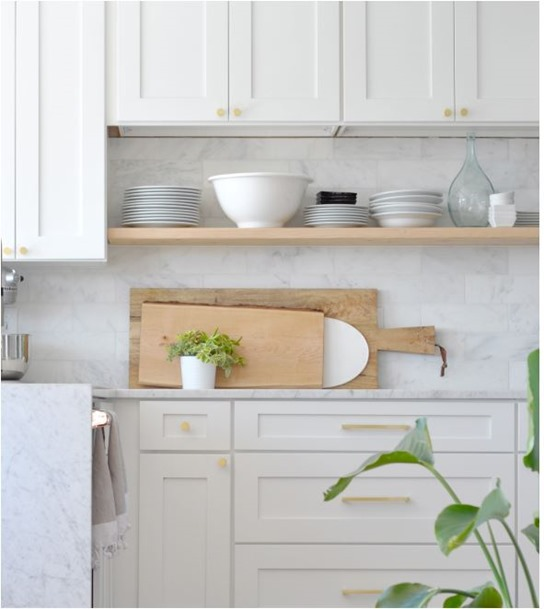 diy floating open kitchen shelving