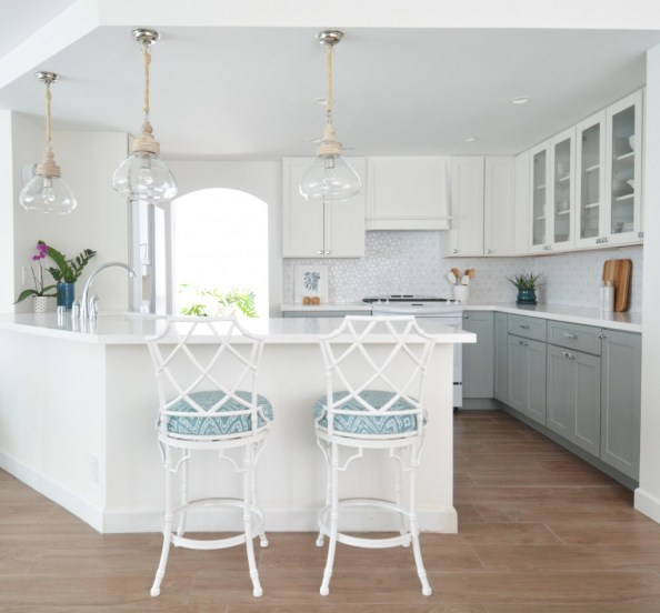 white blue gray kitchen remodel