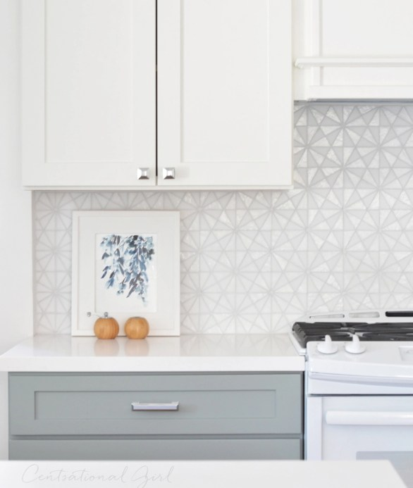 white glass tile backsplash