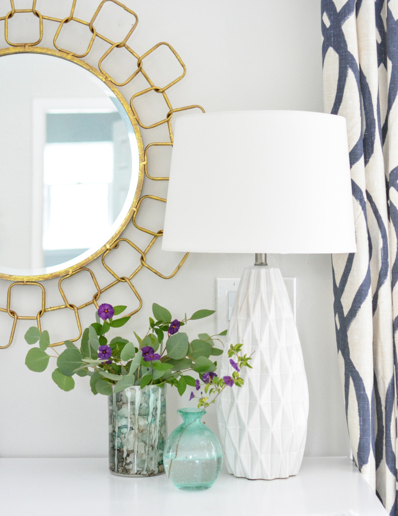 chain link mirror and lamp
