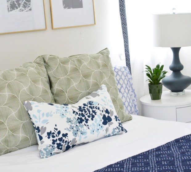 green and floral pillow