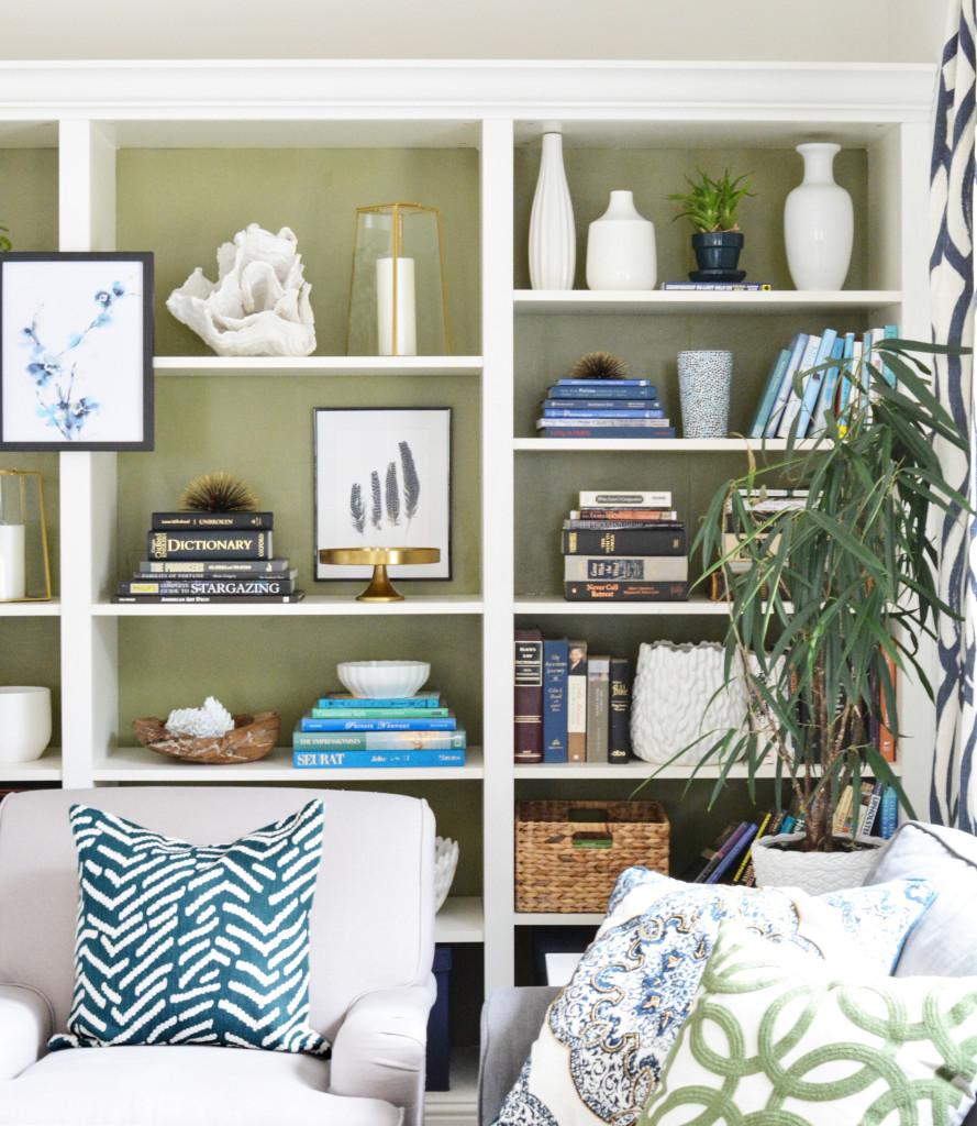 olive green painted bookshelves