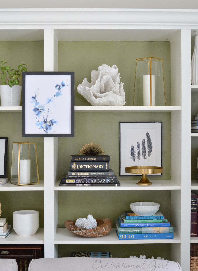 olive painted bookcases