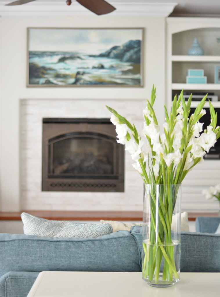 fireplace flowers painting