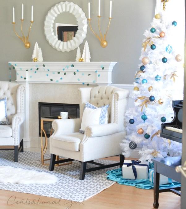 white christmas tree mantel piano