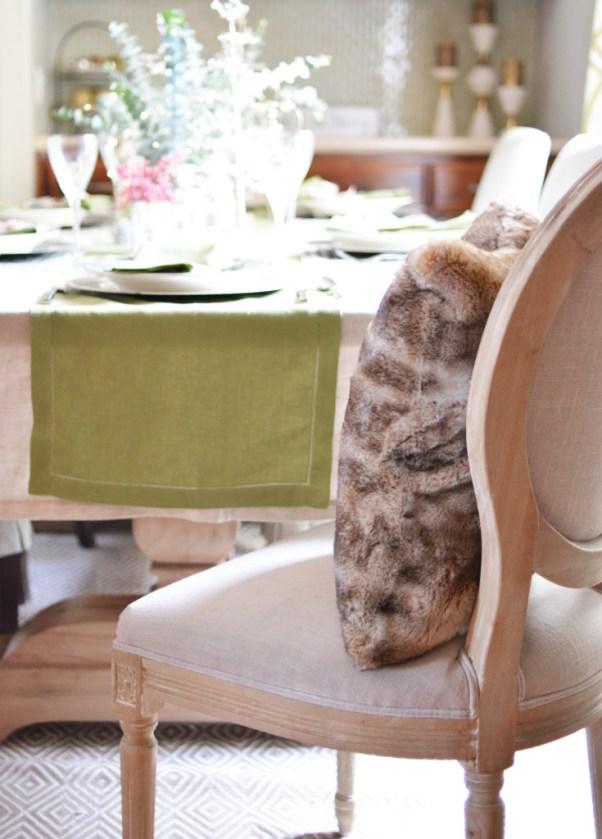 fur pillow on chair