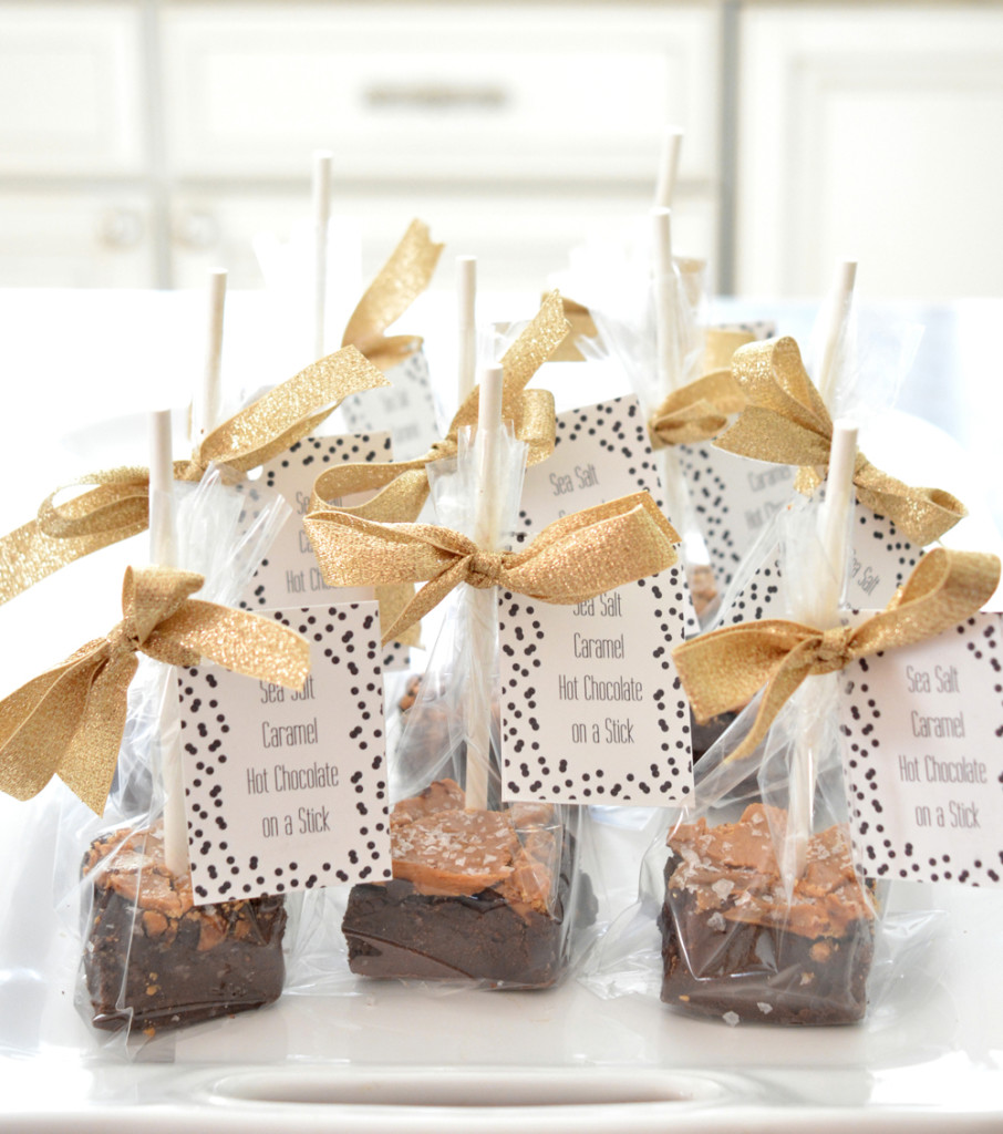 sea salt caramel hot chocolate on a stick packages