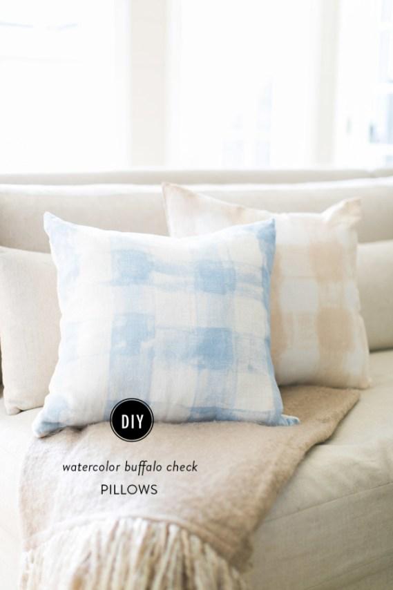 watercolor buffalo check pillows