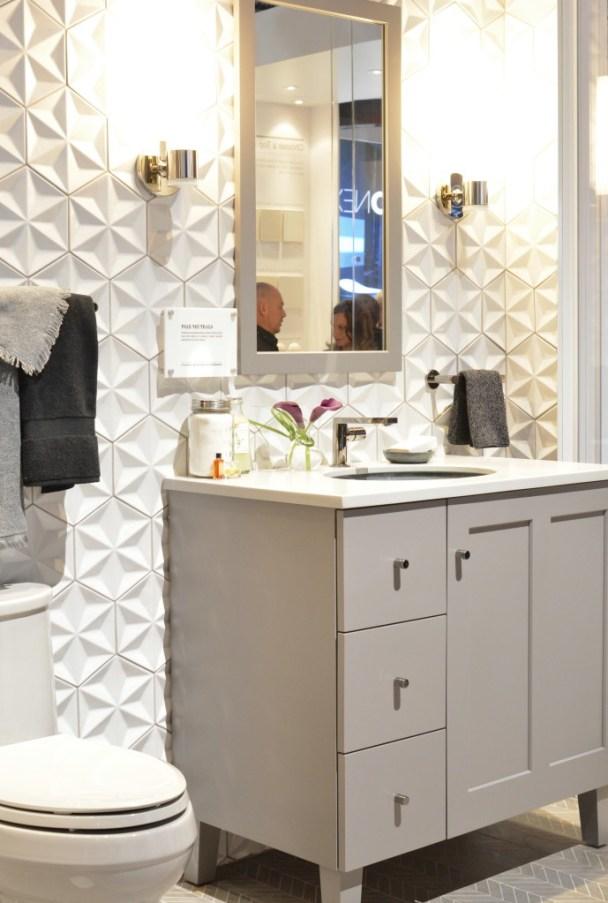 raised relief tile gray vanity