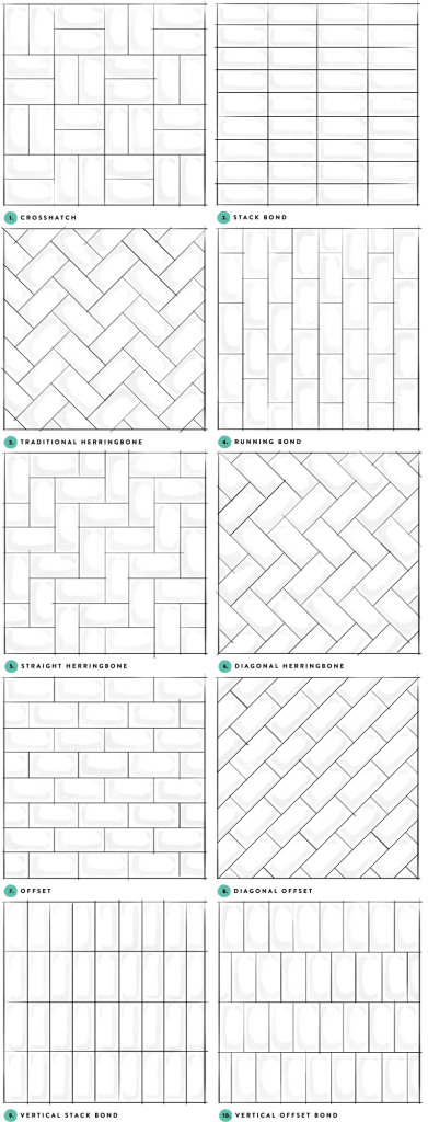 subway tile pattern samples