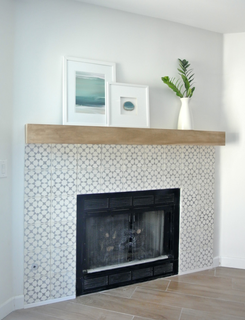 tiled fireplace surround