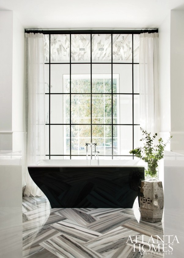 black divided light bathroom window