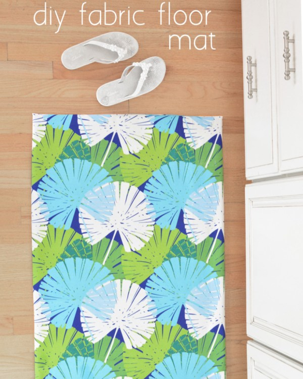 diy fabric floor mat palm print