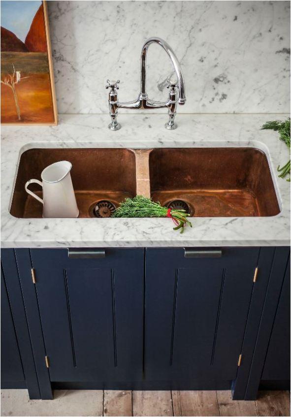 copper double basin sink