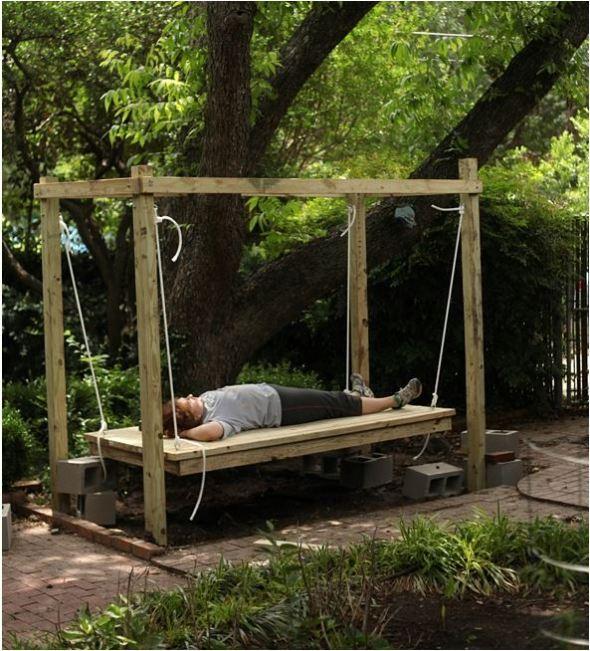 outdoor swinging bed diy