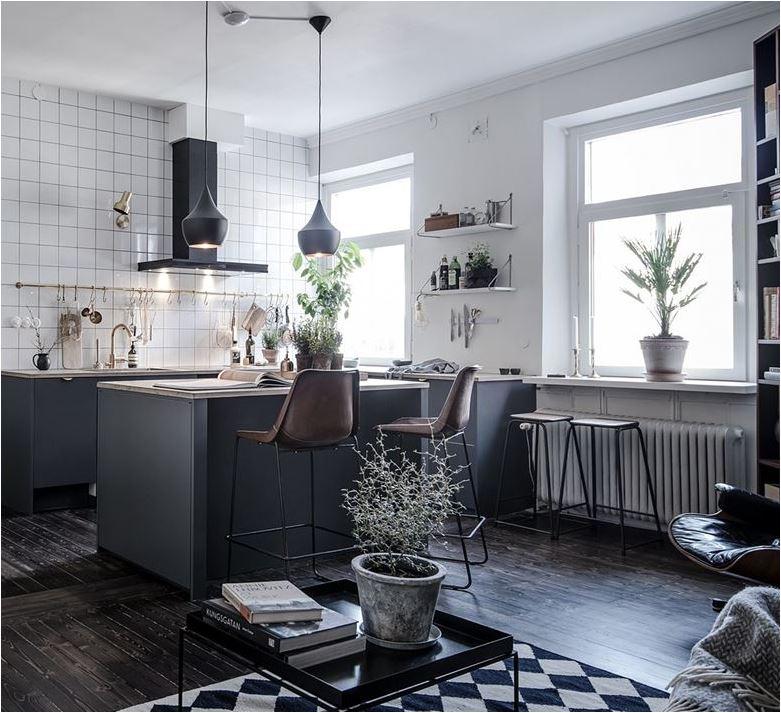 black kitchen leather stools