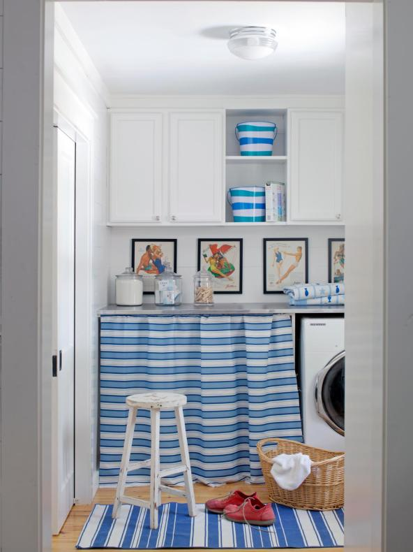 blue and white laundry room hgtv