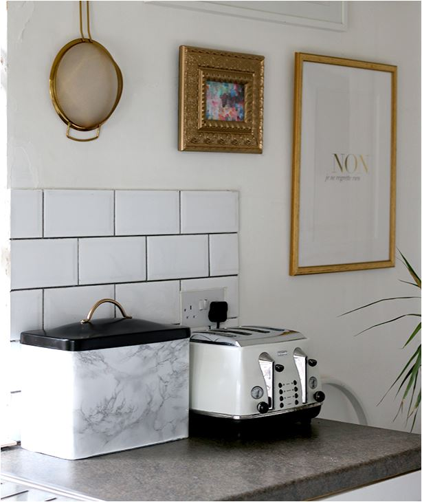 faux marble bread bin