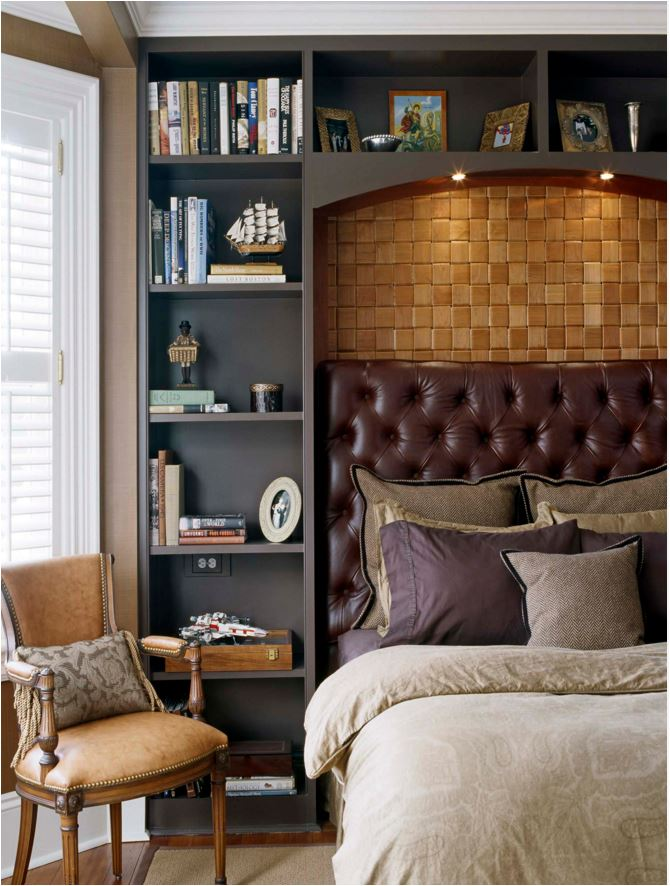 leather headboard masculine bedroom