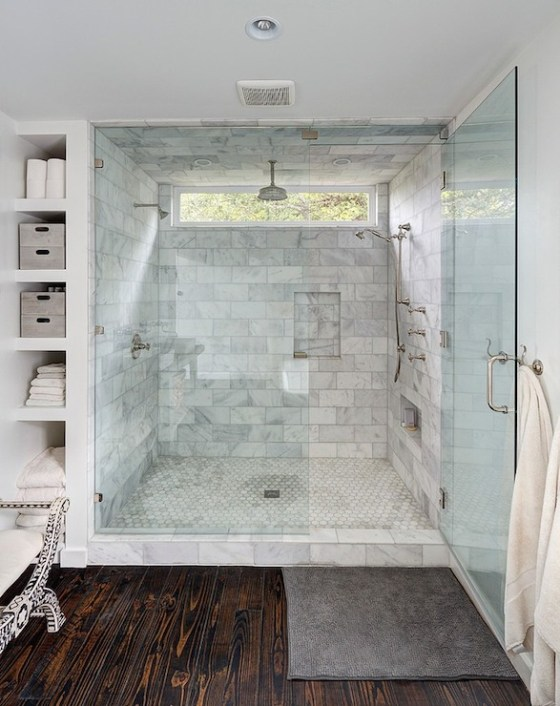 walk in shower with window