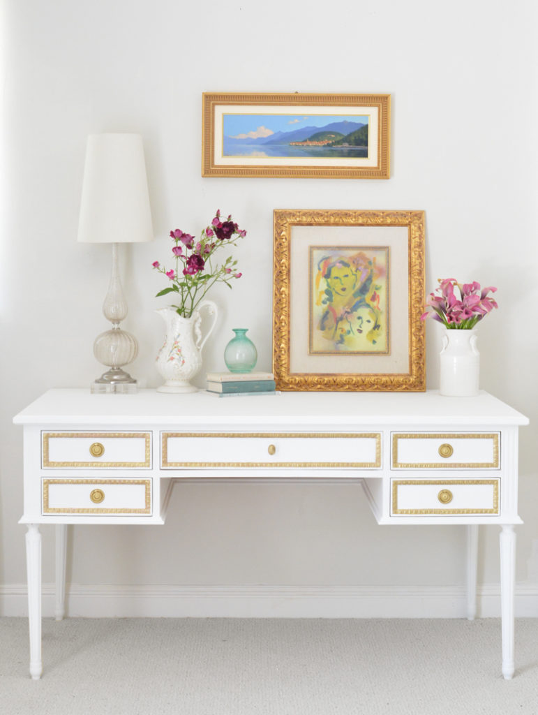 gold and white colette desk