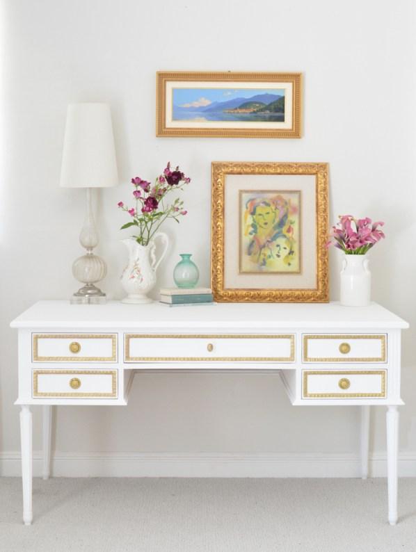 gold and white colette desk