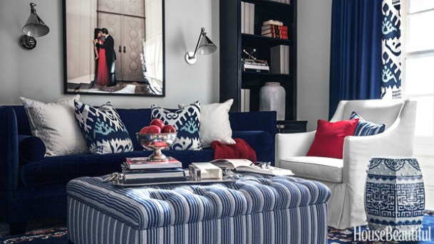 blue white red room house beautiful