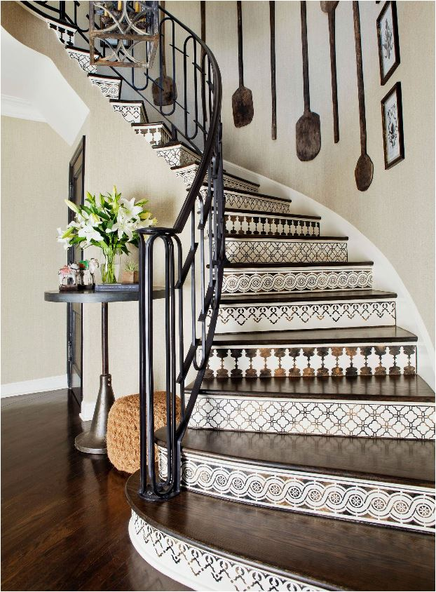 brown and white tiled staircase wood treads