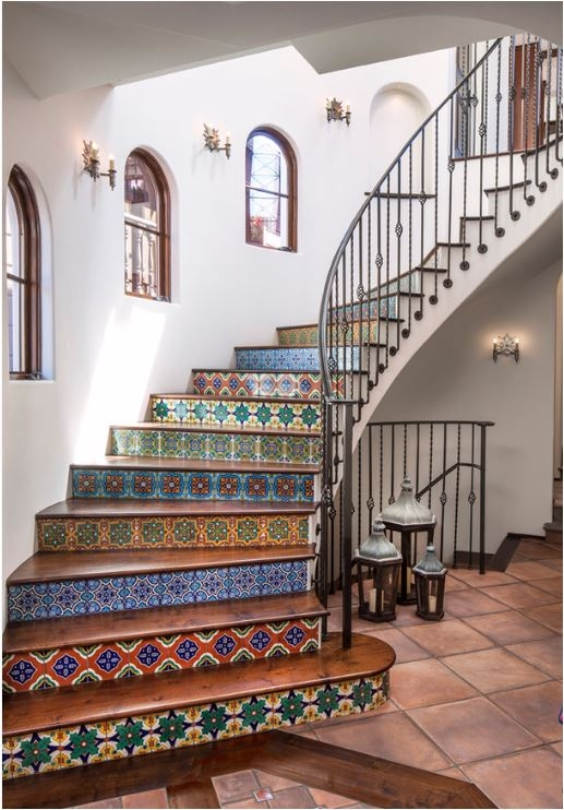 Tiled Staircases Centsational Style | Tile Risers On Wood Stairs | Stair Tread | Decorative | Wood Finish | Stair Outdoors | Wooden