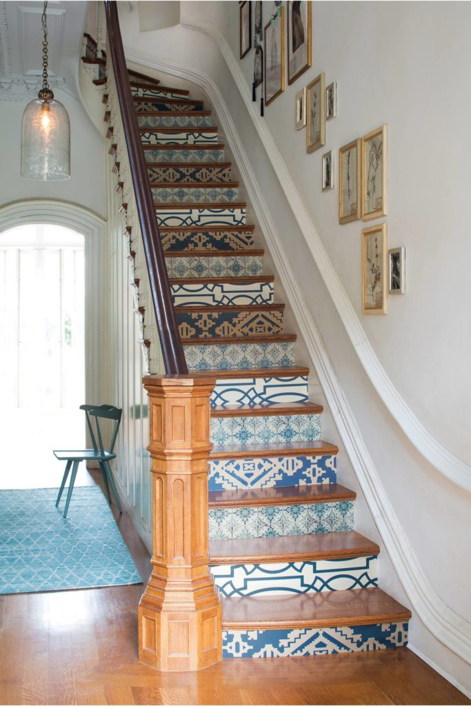 tiled wallpapered staircase