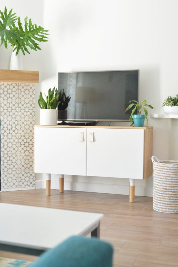 wood white ikea hack console