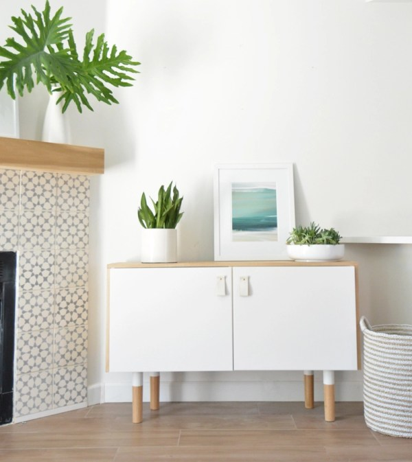wood white midcentury console ikea hack