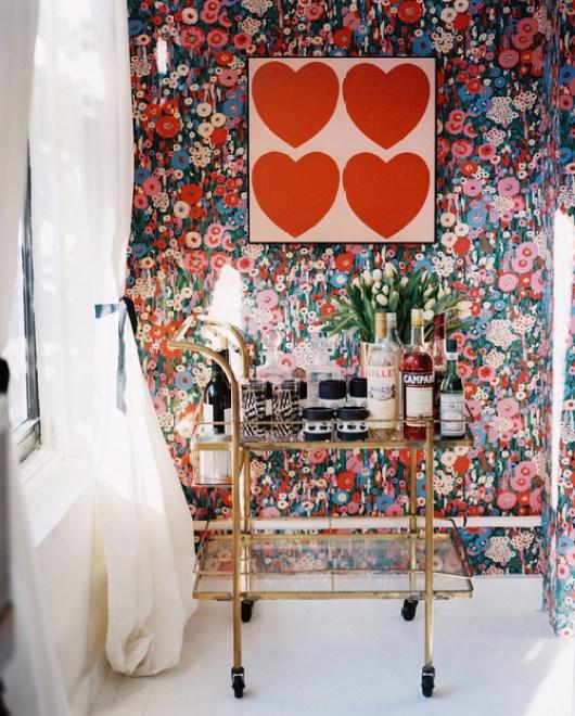 gold bar cart bold wallpaper