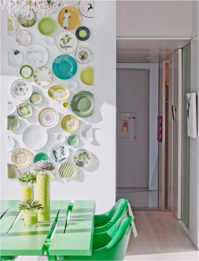 green white breakfast room plate wall