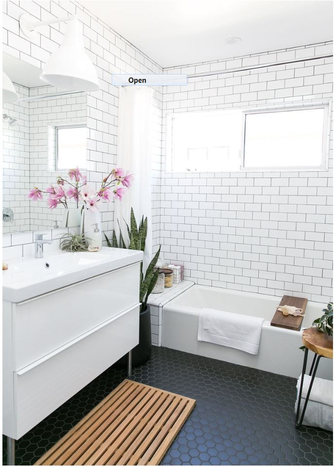 black hexagon tile floor
