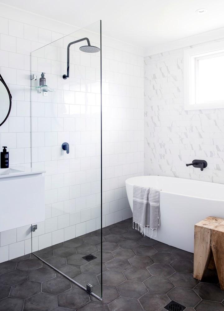 gray hexagon floor tile