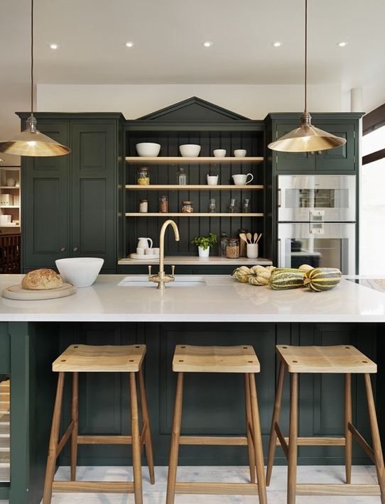 green cabinets in kitchen