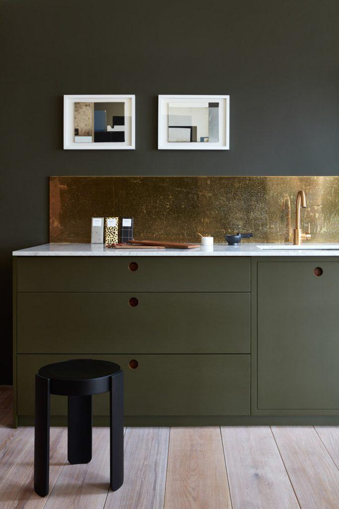 olive green frameless cabinet