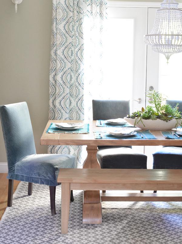 Unique parsons chairs farmhouse table succulents dining room