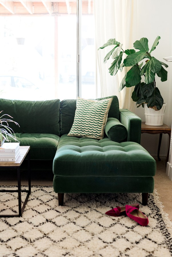 green-velvet-sectional