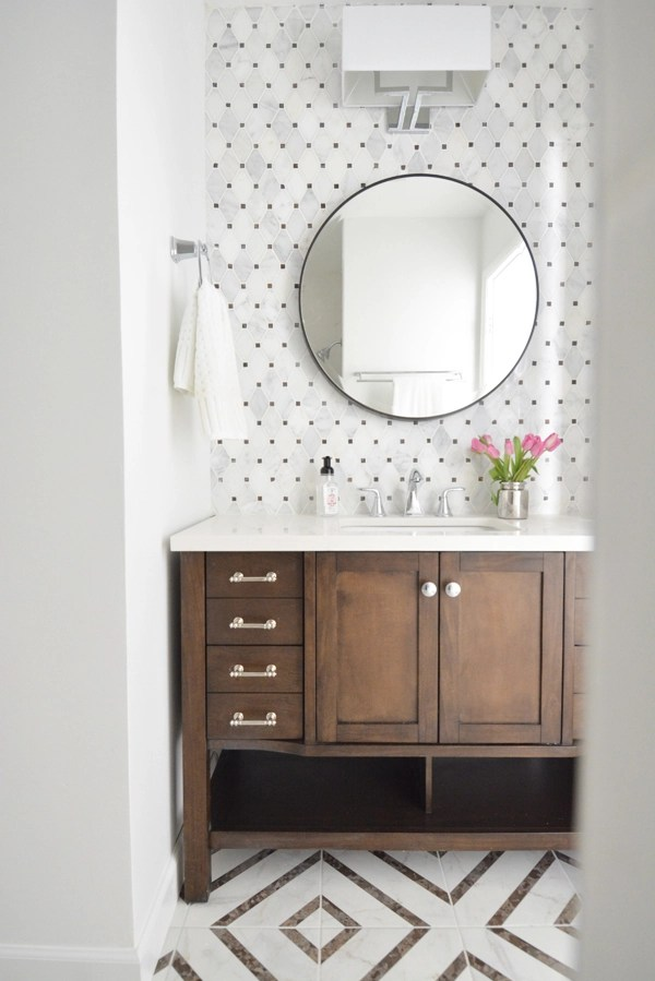 Perfect When we started this space was your basic s builder basic blah bathroom The oak vanity with a cultured marble top was old and a few inches too low